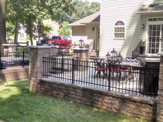 raised backyard patio after installation
