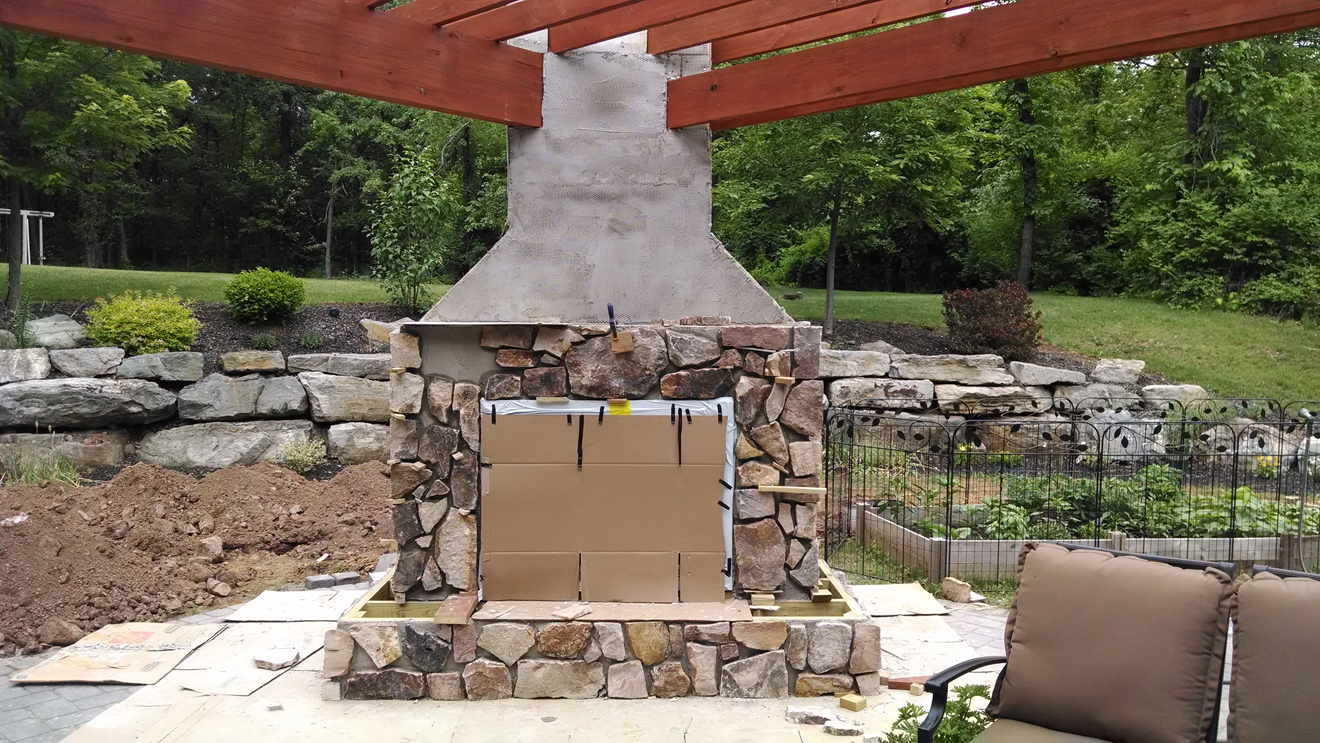 outdoor fireplace under construction