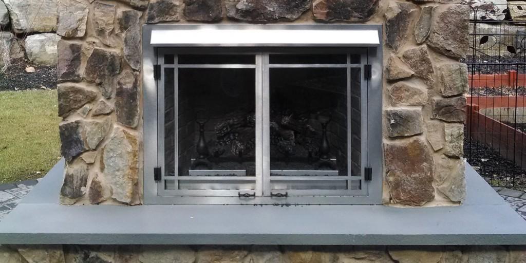 closeup of outdoor stone fireplace