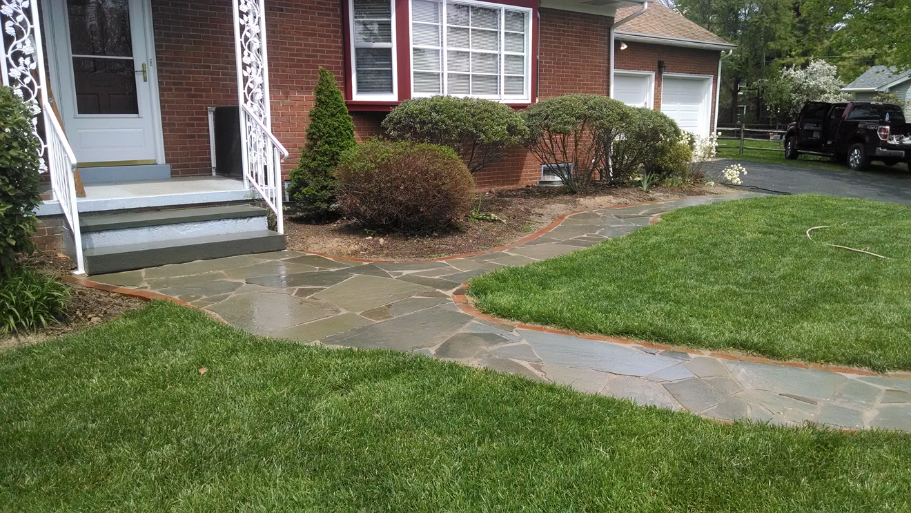 front lawn stone walkway with custom stonework