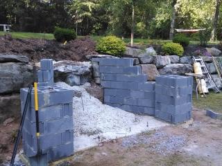 concrete block foundation for stone staircase