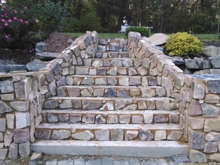 stone staircase before complete restoration